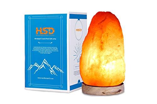 HSD Lámpara de sal de roca del Himalaya de cristal natural, diferentes tamaños con cable y bombilla, 4-6 kg lamp