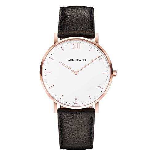 PAUL HEWITT Armbanduhr Damen Sailor Line White Sand - Damen Uhr (Rosegold), Damenuhr mit Lederarmband in Schwarz, weißes Ziffernblatt