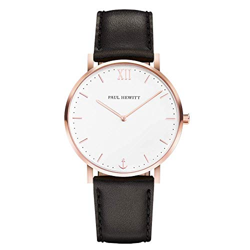 Watch Paul Hewitt Sailor Line White Sand Case 36mm IP Rose Gold Leather Watchstrap Black 176mm PH-SA-R-SM-W-2S