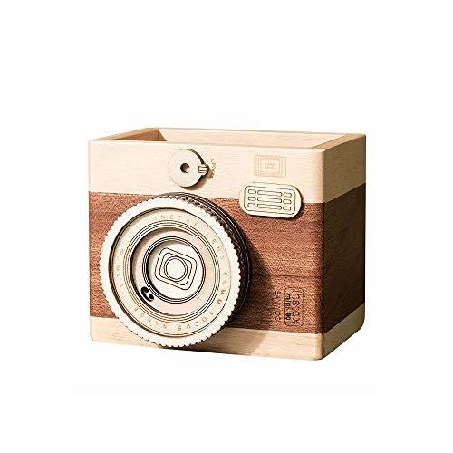 ZZYJYALG Solido supporto della macchina fotografica della penna di legno Student regalo da scrivania contenitore della penna di sicurezza Tea Caddy spazzole di trucco basamento del supporto Retro Sede