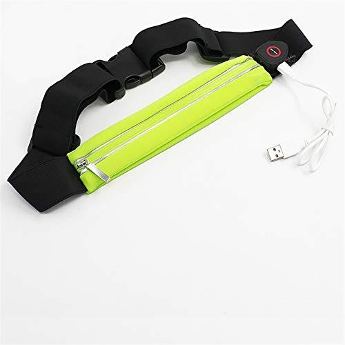 Brillo de la cintura Bolsa Unisex LED impermeable Pockets Casual Bolsillos Noche Ejercicio Ejercicio Bolsa USB (Color : Green)