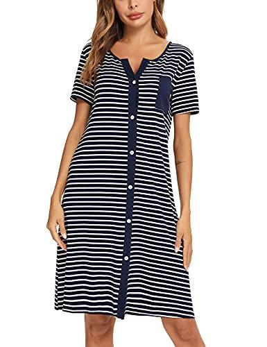 Doaraha Nachthemd Damen Baumwolle Schlafshirt Streifen Nachtkleid V-Ausschnitt Kurzarm Knopfleiste Sommer Nachtwäsche Sleepshirt Mit Vordertasche