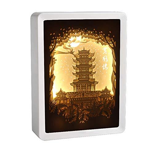 Gelbe Kran Turm 3D Papier Schnitzlicht Led Nachtlicht Schatten Papier geschnitzte Lichter USB Aufladen Kunst Dekoration Geschenk