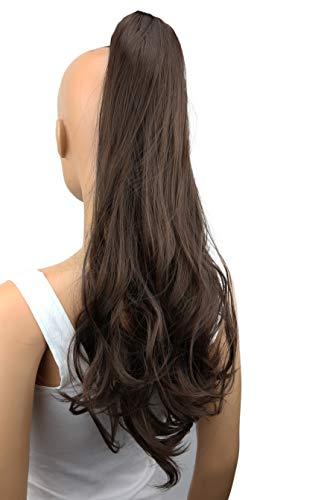 PRETTYSHOP 50cm Haarteil Zopf Pferdeschwanz Haarverlängerung Voluminös Gewellt Dunkelbraun H50