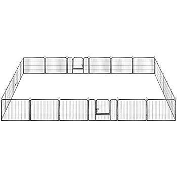 Yaheetech Parc pour Chien 60 cm H 24 Panneaux Enclos pour Chiot Lapin Cochons Inde Petit Rongeur Pet Playpen Métal avec 3 Portes
