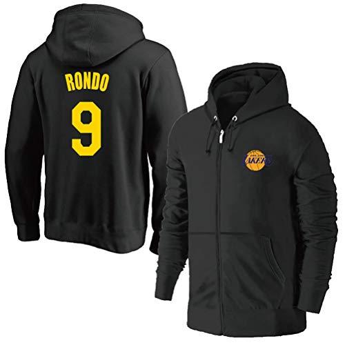 Rajon Rondo # 9 Zipper Pullover Formazione di Basket con Cappuccio, Maniche Lunghe con Cappuccio Felpa Los Angeles Lakers Uomo (Color : Black, Size : XL)