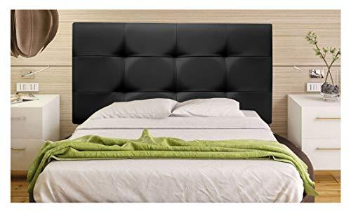 ONEK-DECCO Cabecero tapizado en Polipiel de Dormitorio Tennessee Medidas cabecero de Cama niño, Juvenil y Matrimonio Cabezal Blanco, tapizado, Acolchado (90x70, Negro)