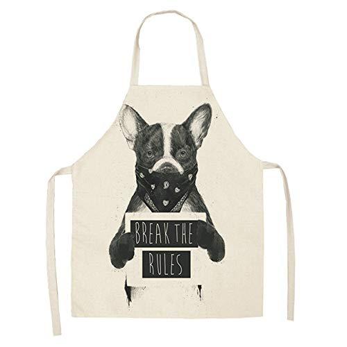 ZZXGWQ schort 1 stuk 53 x 65 cm katoen linnen bulldog hond bedrukt kookschort kookschort unisex Cena slabbetje schort grappig D