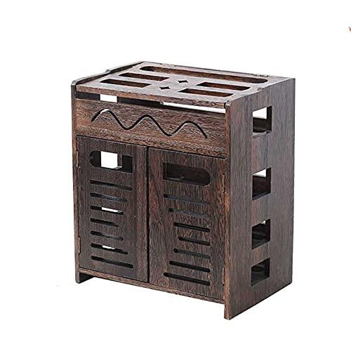 Estante de enrutador de almacenamiento de medios Caja de almacenamiento WiFi inalámbrica de madera Caja de decodificador de gabinete de TV Rack doméstico Partición de pared en el cable de alimentación