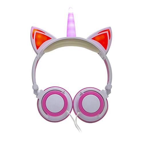 prasku Unicorn Headphones LED Girls Diadema Plegable 3.5 Mm para PC Estudio en Línea - Blanco Rosa