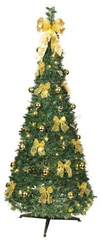 Best Season Decorato Albero di Natale del LED, Acceso Circa 190 x 80 cm e 80 Bianco Caldo LED con 8 funzioni, piegata, Decorazione d'oro a Quattro Colori Cartone 603-91