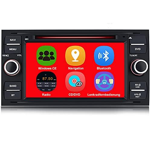 AWESAFE Autoradio mit Navi für Ford Focus, unterstützt Bluetooth Lenkradbedienung Mirrorlink CD DVD Doppel Din Radio 7 Zoll Bildschirm - Schwarz