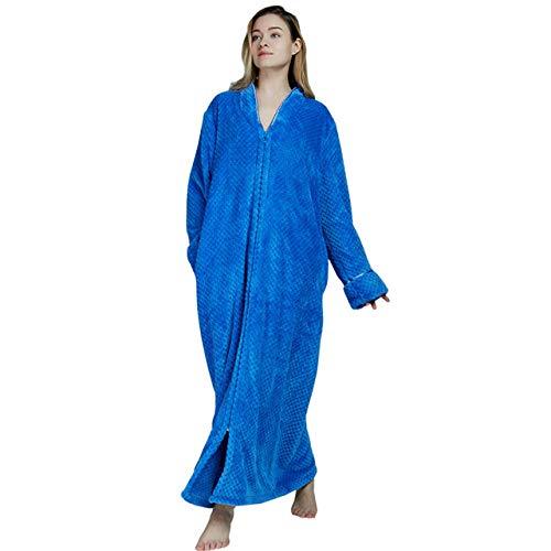 SDCVRE Bata de baño,Cremallera marisco Terciopelo Albornoz Aumentar camisón Mujeres Hombres Espesar Pijamas Franela Servicio a Domicilio, como imagen1, XL