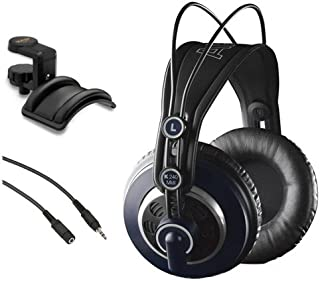 AKG K 240 MK II 专业半开放立体声耳机,带 Auray 耳机支架和迷你公对立体声迷你母端延长电缆