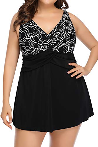 PERONA Women's Plus Size Swimsuits Shaping Body One Piece Swim Dresses Print Swimwear (US 22(Read The Size Chart in Our Image), Circle)
