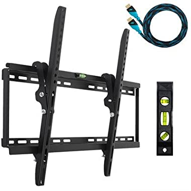 "Cheetah APTMM2B TV Wall Mount for 20-80  TVs up to VESA 600 and 165lbs, and fits 16"" And 24"" Wall Studs, and includes a Tilt TV Bracket, a 10' Twisted Veins HDMI Cable and a 6  3-Axis Magnetic Bubble Level"