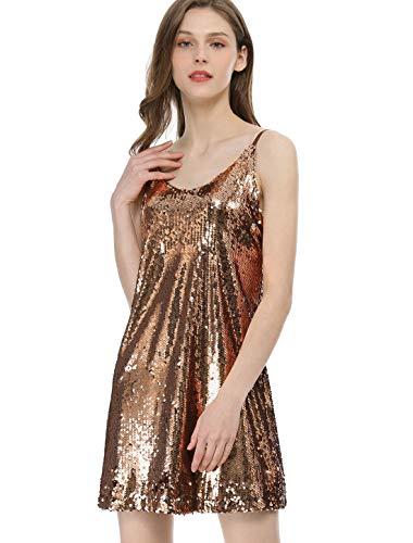Allegra K Damen Ärmellos V Neck Metallisch Pailletten Trägerkleid Kleid Gold S