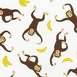 Weißer Stoff mit Affen und Bananen von Robert Kaufman