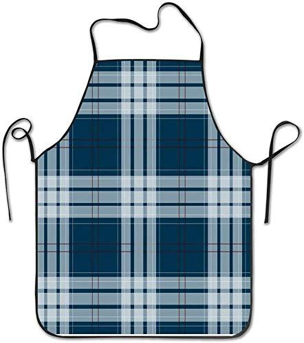 Delantal unisex de cocina a cuadros azul con babero de cocina para supermercados, cuello de chef
