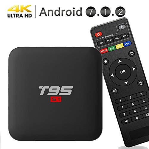 EASYTONE Android 7.1.2 TV Box, Smart TV Box Quad-core 64 Bits /1GB+8GB Supporting 4K (60Hz) Full HD/H.265/2.4G WiFi/HD 2.0 T95 Android Box