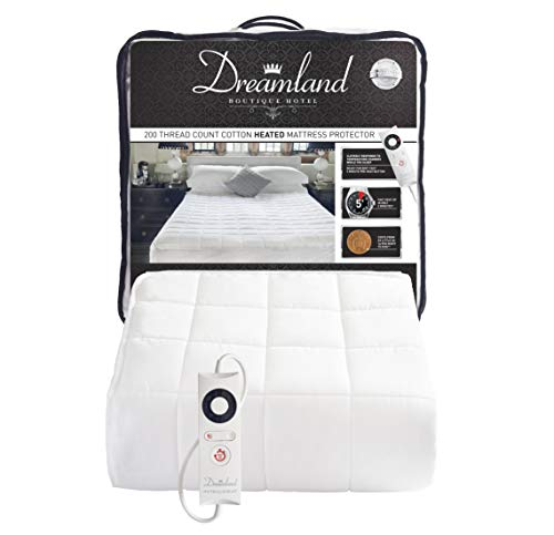 Dreamland Intelliheat Fast Heat Boutique Hotel 200 Thread Count Cotton Heated Mattress Protector Double, Electric Blanket 190 x 137 cm, Elasticated Skirt, 1 Control, 6 Temperature Settings and Timer