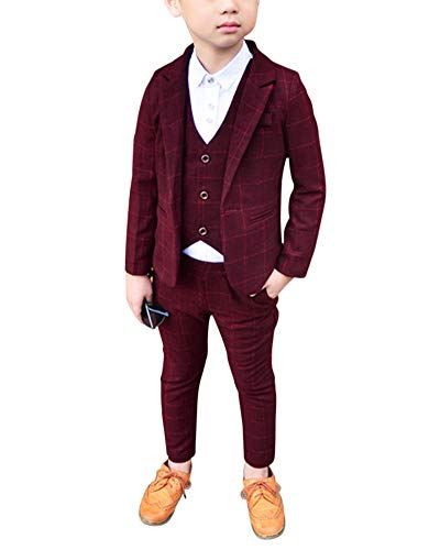 Jungen Anzüge Kinder Schlanke Passform Klassisches Kariertes Anzug-Set Mit Jacke Weste Und Hosen Violett Rot 140