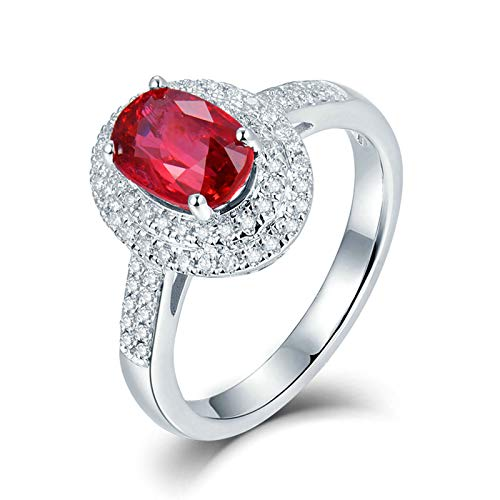 Beydodo Anillo Mujer 18K,Anillos de Oro Blanco Mujer 18 Kilates Plata Rojo Oval Rubí Rojo 1.2ct Diamante 0.28ct Talla 6,75(Circuferencia 47MM)