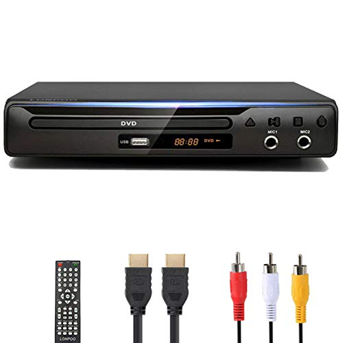 LONPOO DVD Player, Multi-Region Region Free, USB Port, DivX, RCA & HDMI Port, Built-in PAL/NTSC System, HDMI Cable Included
