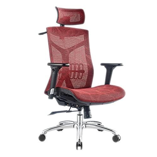 XIAOLI Silla de oficina Silla de escritorio, Silla de ordenador para el hogar, cómoda cintura sedentaria, asiento de juego, silla de oficina, silla giratoria (color: rojo)
