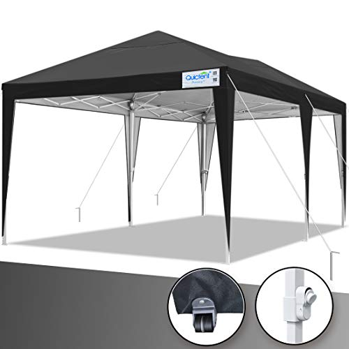 Quictent Privacy 10x20 EZ Pop Up Canopy Tent Party Tent Outdoor Event Gazebo Waterproof with Roller Bag- 4 Colors (Tan)