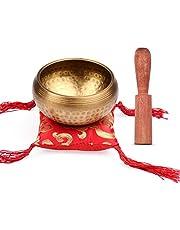 Cuenco tibetano tibetano de 9,5 cm, cuenco de madera y almohadilla cuadrada roja para yoga, meditación, relajación (tamaño: tipo 2; color: como se muestra)