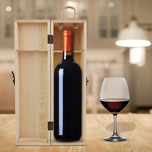 Gedourain Caja de Embalaje de Vino de Madera, conservante de Mano de Obra estándar, Soporte para Regalo, Caja de Regalo de Vino de Madera Maciza para Vacaciones, para el hogar, para la Familia, para