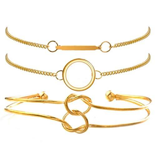 HBWHY Juego de 3 pulseras vintage elegantes pulseras simples pulseras de la amistad para mujeres y niñas regalo de joyería