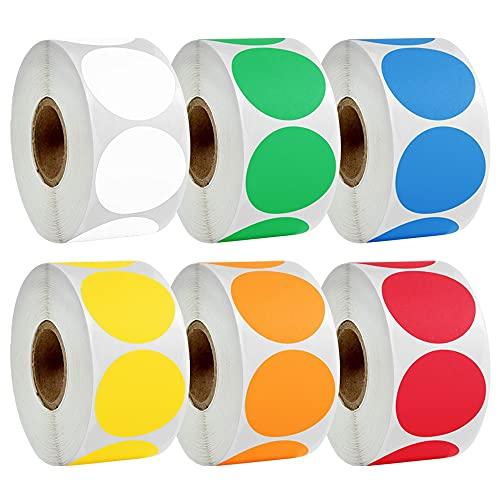 PMSMT Pegatinas de Puntos de código de Color Pegatinas 500 Piezas/Rollo con 1 Pulgada Rojo Azul Amarillo Negro en Blanco se Puede Escribir sobre Sello Adhesivo papelería