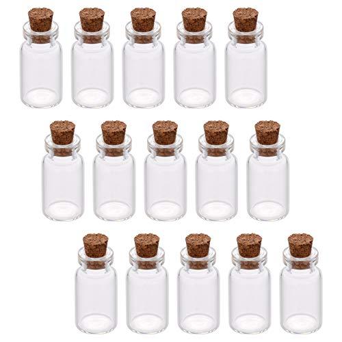 Craftdady 18 tarros de cristal de 6 ml con tapones de corcho, botellas transparentes de deseos, cosméticos, para manualidades, bodas, decoración