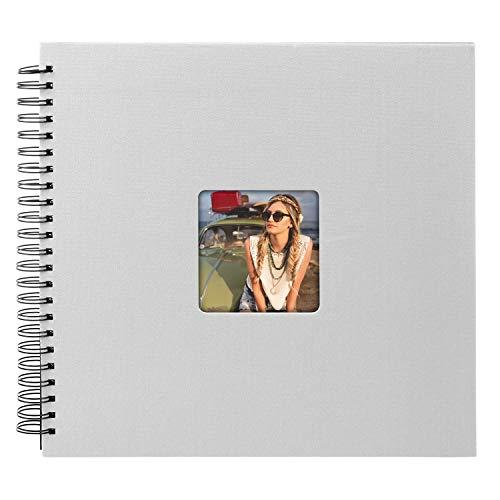 goldbuch 25298 Spiralalbum Living, Erinnerungsalbum mit Bildausschnitt-Cover, Fotoalbum mit 50 schwarzen Seiten, Foto Album zum Einkleben, Fotobuch in Leinenoptik, 32 x 36 cm, Grau