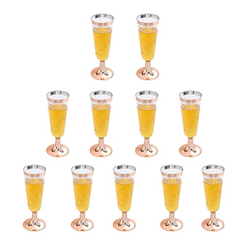 Gold Champagne Flutes,Disposable Champagne Glasses, Plastic Toasting Glasses for Celebration, Wedding or Parties