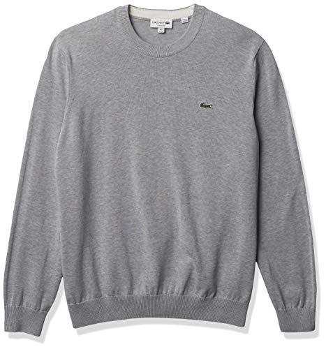 Lacoste Men's Long Sleeve Crewneck Cotton Jersey Sweater, Silver Chine, L