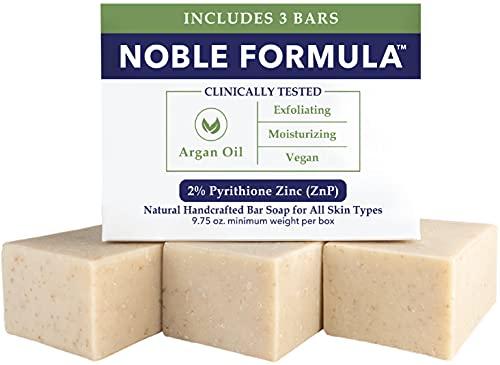 Noble Formula 2% Pyrithione Zinc (ZnP) Argan Oil Bar Soap, 3.25 each, (3 Bars in 1 Box), Total 9.75 oz