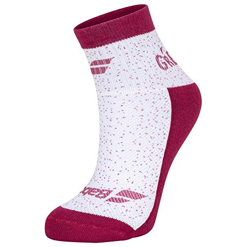 Babolat Graphic Socks Women, calzetti Donna, Bianco, Rosso (Vivacious Red), 35/38
