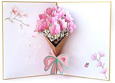 BESLIME Pop up Flower Bouquet Greeting Card, 3D Greetings Card, Flower Thank You Card for Wife,Moms,Valentines,Husband, Handmade Bouquet Birthday Anniversaries Gifts