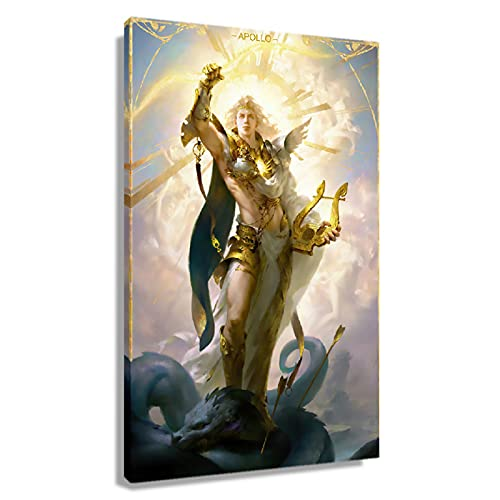 God Apollo Greek Mythology Wall Art Canvas Posters for Wall Decor Photo Picture Prints Ancient Greek Oil Paintings on Canvas Art Vertical Decoration for Bedroom Unframed Unframed 16x24 inch(40x60cm)