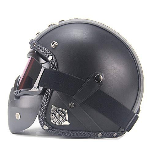 "Yvonnelee Leather Brown"" · Brain-Cap · Halbschale Jet-Helm Motorrad-Helm Roller-Helm Scooter-Helm Bobber Mofa-Helm Chopper Retro Cruiser Vintage Pilot · Schnellverschluss"