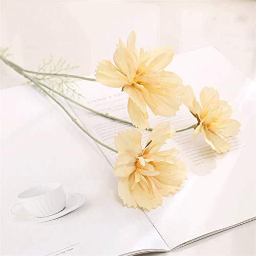 Flor eterna margaritas artificiales, flores de manzanilla falsas, decoración de boda, hogar, mesa, jardín flores (color champán)