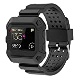 MORETEK Blaze Accessories Band, Case Impact Protection Resilient Strap Bands Ultimate Protection from Drops and impacts for Fitbit Blaze Smartwatch/Watch Sport Replacement Wristband (Black)