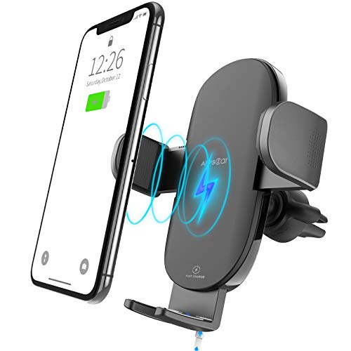 APPS2Car Fast Vent Phone Charger Wireless,15W/10W/7.5W Qi Car Phone Mount Wireless Charger Anti Drop Compatible with All Qi Enabled Phone/Mobile(4.3-6.8 Inch) Car Vent Phone Mount Wireless Charger