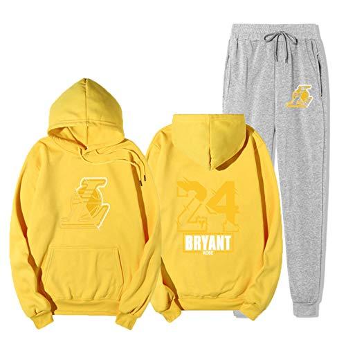 WXFO Lakers 24# Bryant Unisex Chándal Unisex Juego Sudadera con Capucha Pantalones, Ropa de Baloncesto Hip-Hop de Manga Larga Sudaderas Sportswear Apto para Hombres muje Light Gray-S