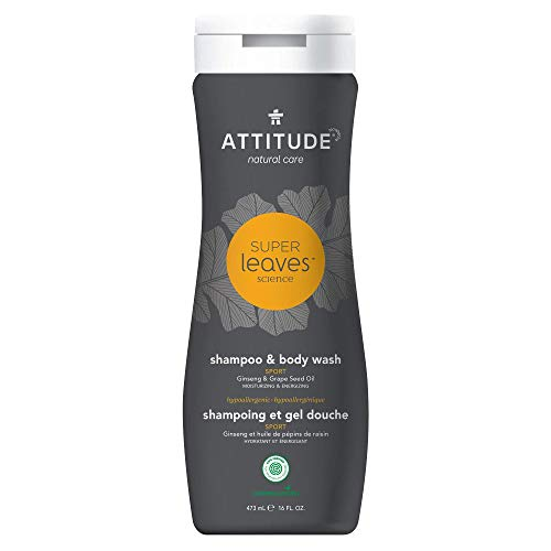 ATTITUDE Super Leaves, Hypoallergenic 2 in 1 Shampoo and Body Wash, Ginseng & Grapeseed Oil, 16 Fluid Ounce