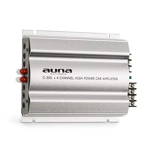 auna C300.4 Auto Verstärker 4-Kanal Auto-Endstufe Car Amplifier (4 x 100 Watt RMS, regelbarer 2-Band-Equalizer, 20 Hz-20 kHz Frequenzbereich) grausilber
