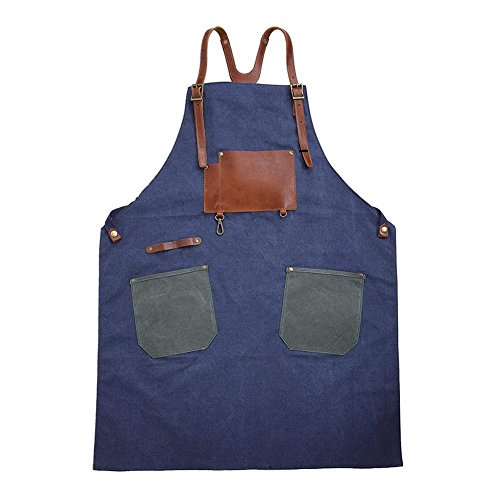 Vrikoo Leather Canvas Work Apron with Tool Pockets Suit for Kitchen, Garden, Craft Workshop, Garage
